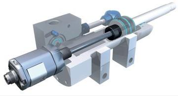 Illustration of Magnetostrictive Linear Displacement Transducer (MLDT) inserted into a gun-drilled cylinder.