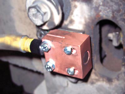 Steelface proximity sensors bunkered in protective mounting.